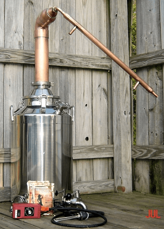 pot still making homemade moonshine