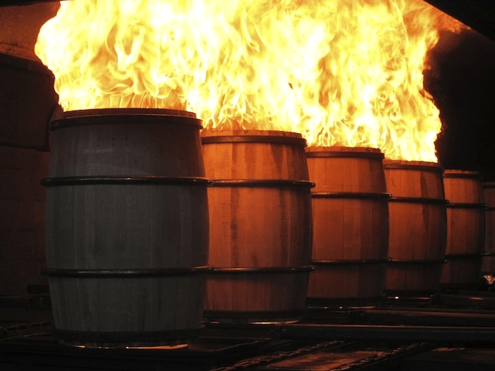 charred oak barrels