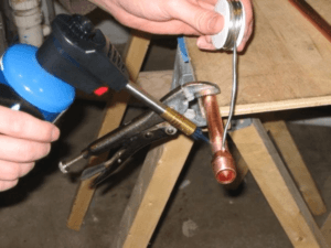 propane torch soldering copper pipe using plumbing solder