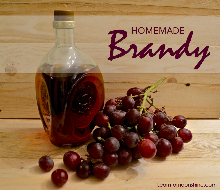 bottle of home made brandy with grapes